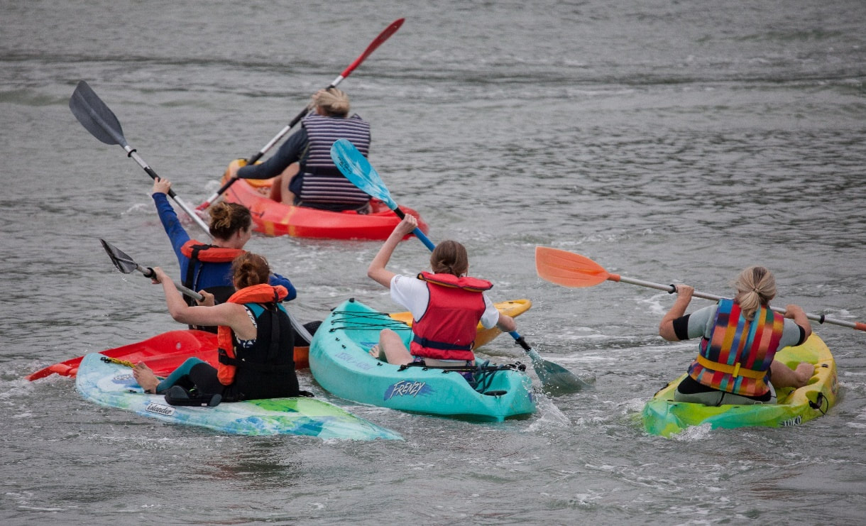 OPEN KAYAK RACE FOR LADIES 14 AND OVER. PHOTO CREDIT TO MORLAIS DAVIES